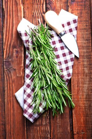 Green rosemary with knife