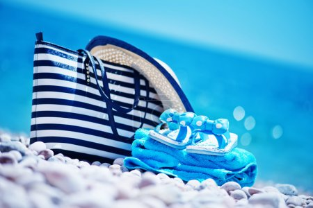 summer background with blue towel