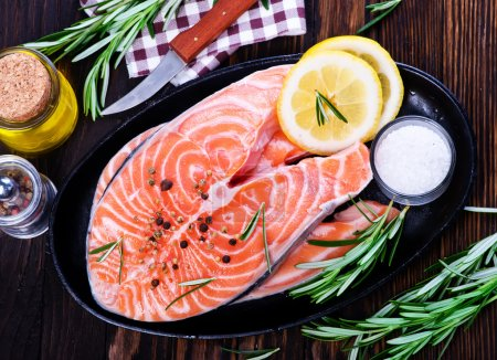 Fresh salmon with rosemary