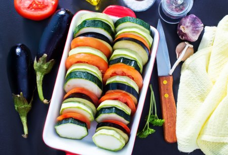Raw vegetables for ratatouille