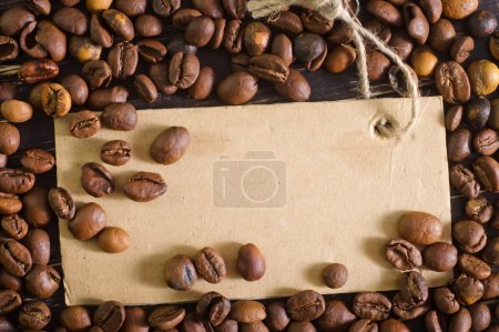 Coffee beans and blank card