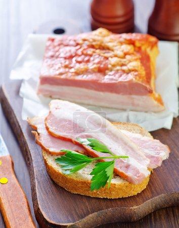 Pieces of smoked pork bacon