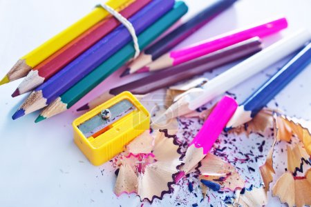 Photo for Color pencils on white - Royalty Free Image
