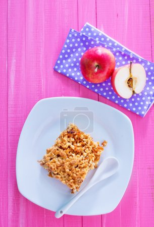 Photo for Apple pie on white plate - Royalty Free Image
