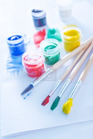 Color paint and brushes
