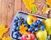 Autumn harvest on the metal tray