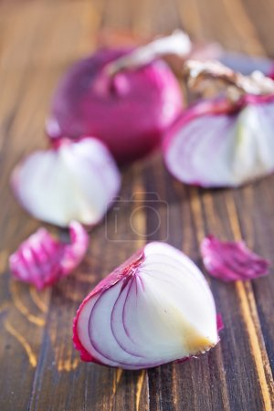 Fresh onion and knife