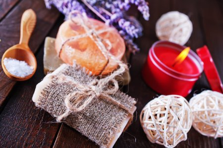 Handmade soaps on the wooden table