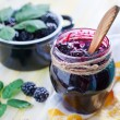 Постер, плакат: Blackberry jam in jar