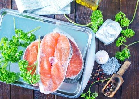 Raw salmon and aroma spice