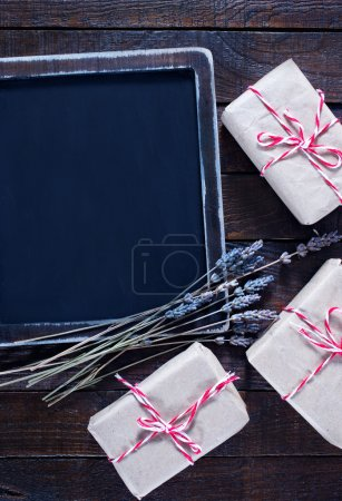 Presents and black board