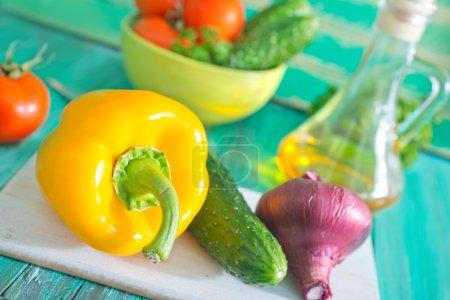 Raw vegetables for vegetarian salad