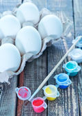 White eggs and paint