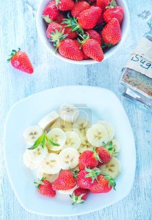 Fresh strawberry and fresh banana