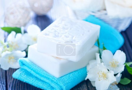 White soap and towels