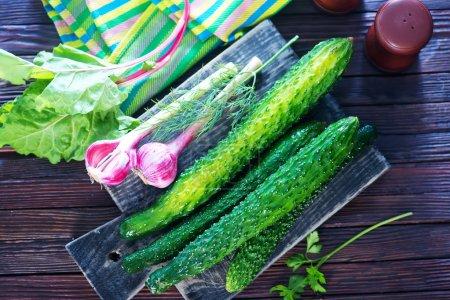Fresh cucumbers on board