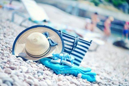 blue towel on sea beach