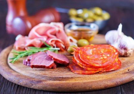 Salami, sausages and ham