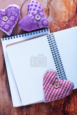 purple hearts and notebooks