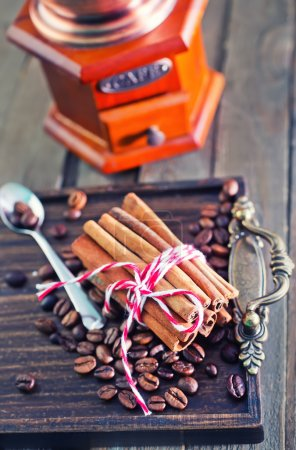 coffee beans and cinnamon sticks