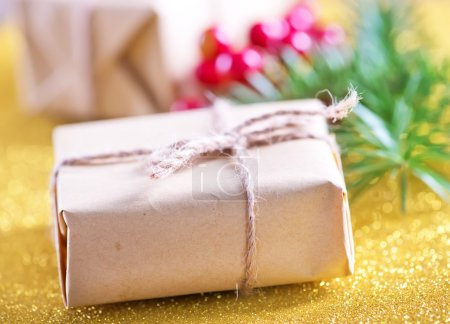 presents and fir tree branch