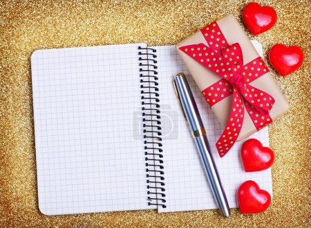 red hearts and notebook