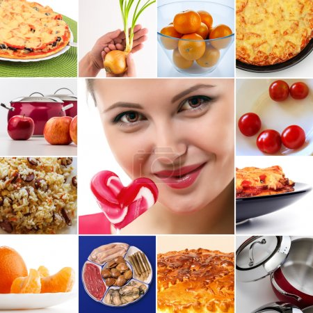 Photo for Various dishes and products in a collage with the girl loves sweets - Royalty Free Image