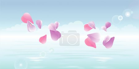 Illustration for Sakura falling petals in water. Vector - Royalty Free Image