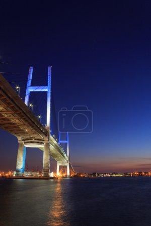 Yokohama Bay Bridge in the twilight