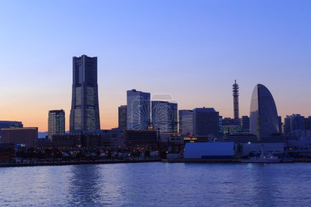 Minatomirai 21 area at dusk in Yokohama, Japan
