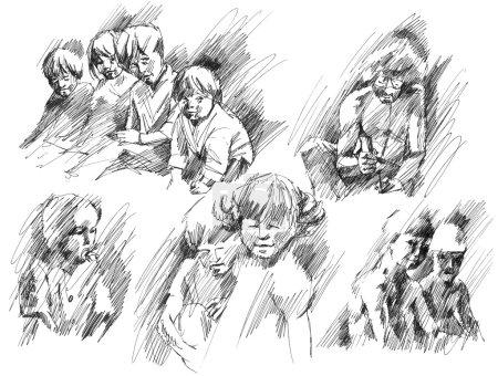 Photo pour Enfants, frères et sœurs, amis, père croquis dessin à l'encre dessinée à la main et stylo ensemble, collection d'illustrations raster . - image libre de droit
