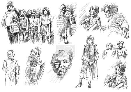 Photo pour Enfants, famille, frères et sœurs, amis, croquis mère-père, ensemble de dessins à l'encre et à la plume dessinés à la main, collection d'illustrations raster . - image libre de droit