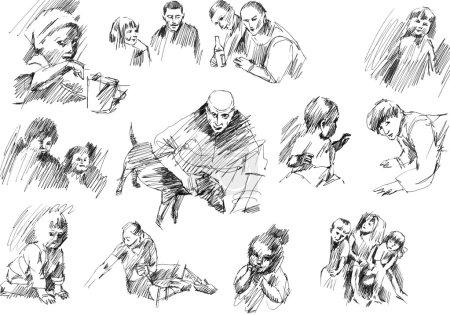 Photo pour Enfants, frères et sœurs, mère, groupe de jeunes, amis, croquis pour chiens ensemble de dessins à l'encre et à la plume dessinés à la main, collection d'illustrations raster . - image libre de droit