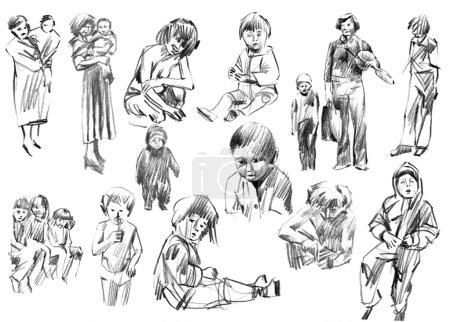 Photo pour Enfants, famille, frères et sœurs, amis, croquis mère et père, ensemble de dessins au crayon dessinés à la main, collection d'illustrations raster . - image libre de droit