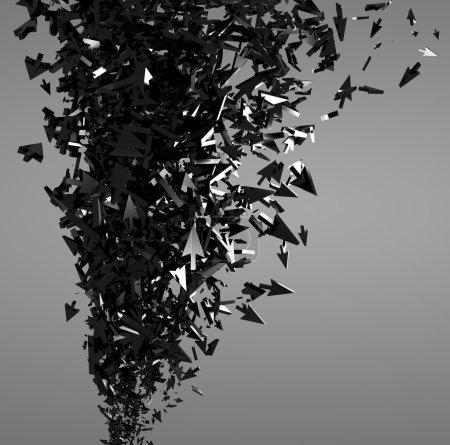 Photo pour Fond abstrait avec des flèches curseurs de souris masse, 3D . - image libre de droit