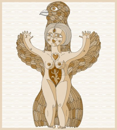 Nude woman with wings