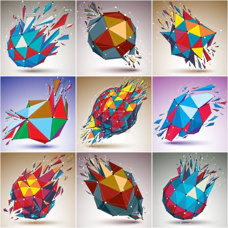 Illustration for Set of abstract colorful vector low poly wrecked objects, Black and white connected lines and dots. 3d origami futuristic forms with lines mesh. Communication technology cybernetic elements. - Royalty Free Image