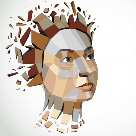 human head in low poly style.