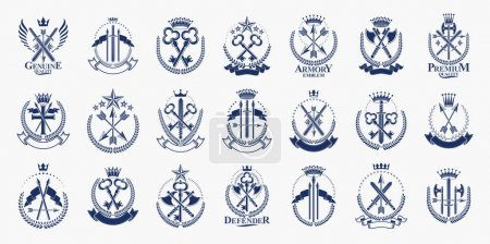 Illustration for Vintage weapon vector logos or emblems, heraldic design elements big set, classic style heraldry military war armory symbols, antique knives compositions. - Royalty Free Image