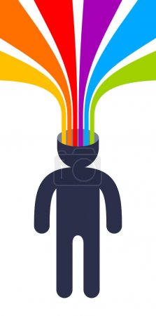 Illustration pour Concept de vecteur de cerveau d'esprit créatif dans le style plat de conception à la mode, rayures arc-en-ciel colorées sort de la tête de l'homme symbolise les idées créatives et la pensée, artiste designer ou écrivain auteur. - image libre de droit