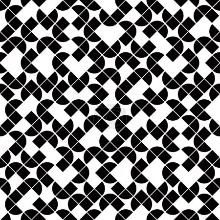Black and white geometric seamless pattern, vector contrast sphe