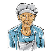 Hand drawn illustration of an old man on white background grey-