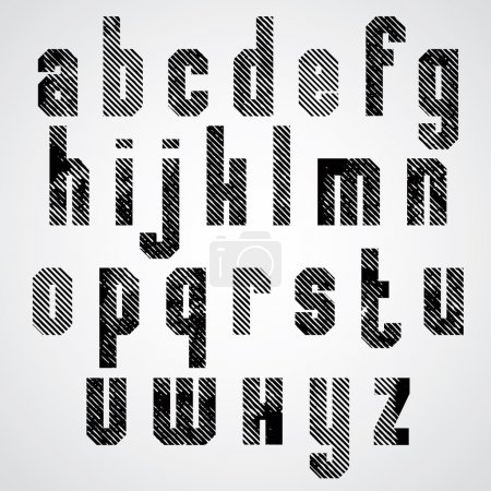 Grunge black rubbed lower case letters, decorative striped font