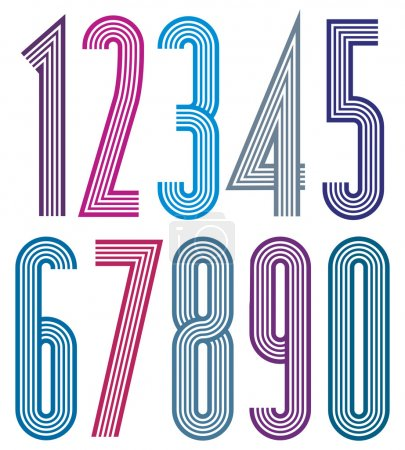 Números geométricos coloridos con líneas rectas .
