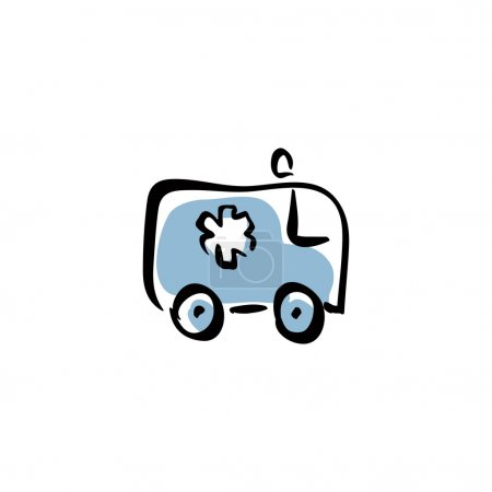 Illustration for Illustrated ambulance car, vector medical icon. - Royalty Free Image