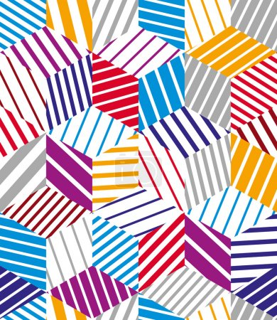 Illustration for 3d cubes seamless pattern, geometric vector background. - Royalty Free Image