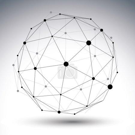 Illustration pour Techno contemporain noir et blanc élégant construction asymétrique, objet tridimensionnel abstrait avec lignes connectées et points. - image libre de droit