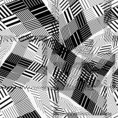 Black and white geometric stripy seamless pattern tattered endl