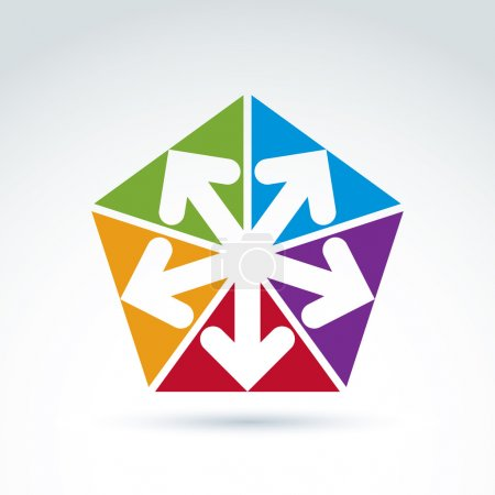 Illustration for Vector abstract emblem with five multidirectional arrows placed in isosceles triangles  up, down, left, right. Conceptual corporate symbol, colorful pentagon icon. - Royalty Free Image