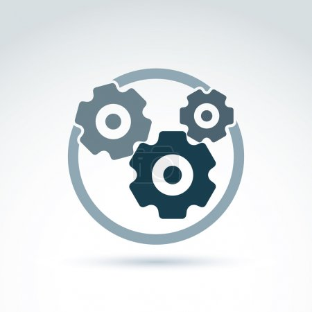 Illustration for Vector illustration of an organization system, strategy concept. Cog-wheels and gears placed in a circle, service icon. Business and manufacturing process theme. - Royalty Free Image